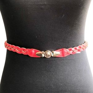 Accessories - New 💋 skinny red braided stretchy belt 👧🏻